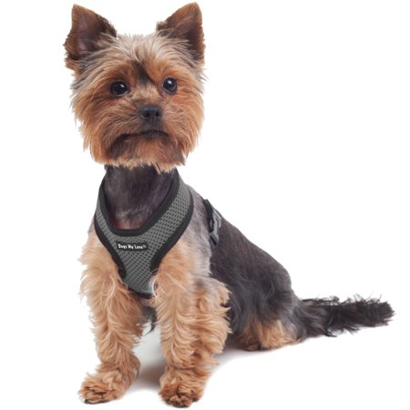 Harness Neck - Dogs My Love Soft Mesh Walking Harness for Dogs and Puppies 6 Sizes Grey (XS (Neck Max: 9