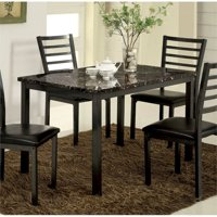 Furniture of America Maxson Faux Marble Top and Metal Dining Table in Black