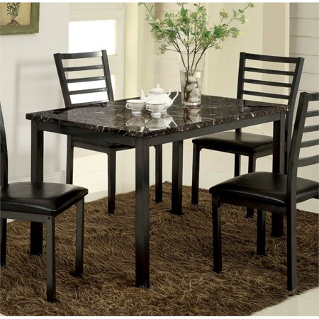 Furniture of America Maxson Faux Marble Top Dining Table in Black