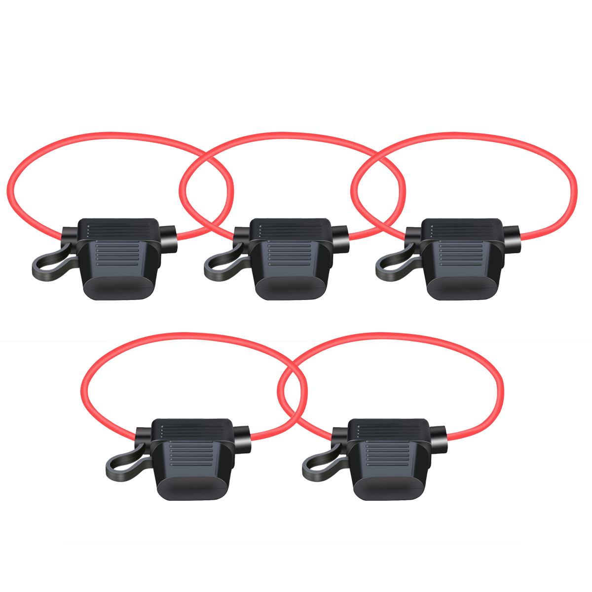 5-pack 12AWG ATC/ATO 30AMP Car Boat Truck Automotive Water-Resistant Inline Fuse Holder Blade