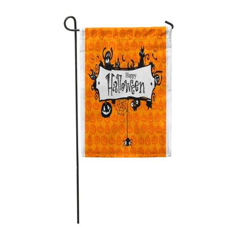 SIDONKU Orange Border Halloween Red Pumpkin Pattern Lantern Jack Vintage Garden Flag Decorative Flag House Banner 12x18 inch](Vintage Halloween Lantern Pattern)