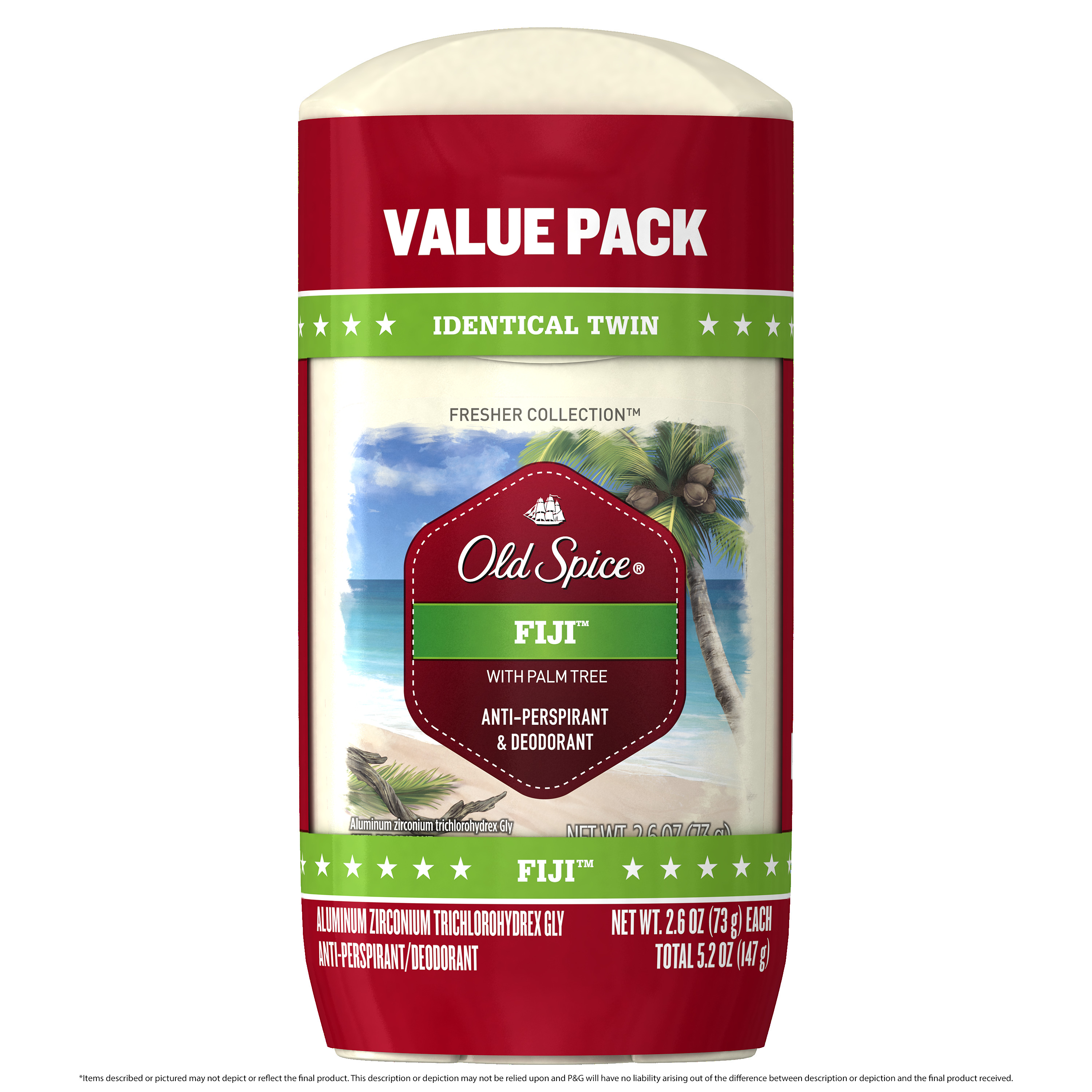 Old Spice Fresh Collection Fiji Antiperspirant and Deodorant 2.6 oz Twin