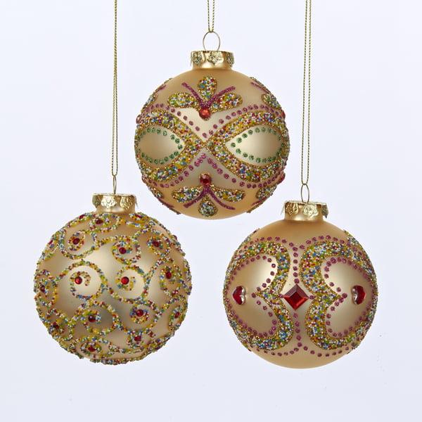 Pack Of 18 Rose Gold Diamond Glass Ball Christmas Ornaments 3 80mm Walmart Com Walmart Com