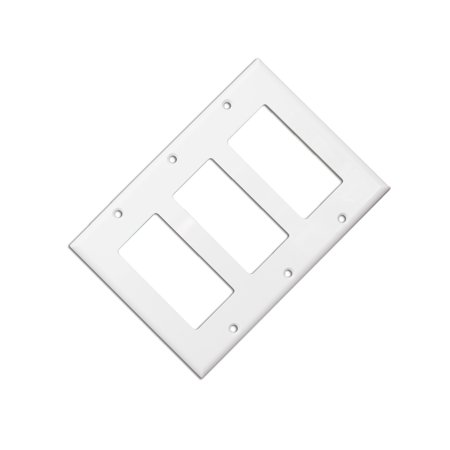ACL Blank Decora, Triple Gang Wall Plate, White, 4 Pack