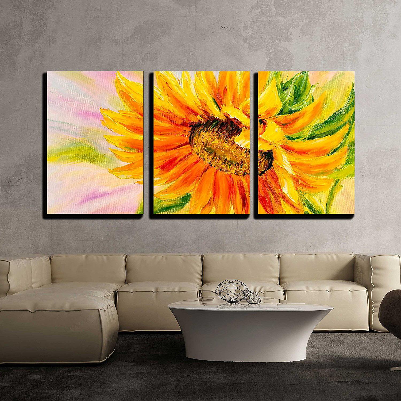 wall26 - 3 Piece Canvas Wall Art - Sunflower, Oil Painting ...