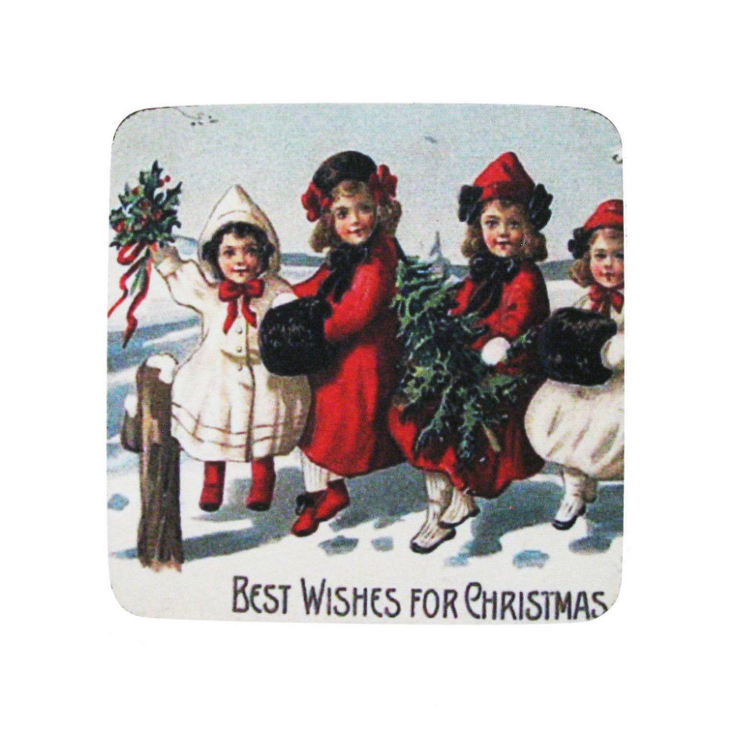 8 Absorbent Antique Style Best Wishes for Christmas Cocktail Drink Coasters 4""