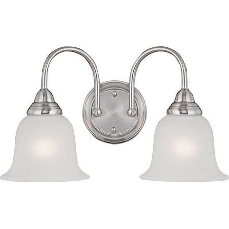 Boston Harbor Dimmable Vanity Light Fixture, (2) 60/13 W, Medium, A19/Cfl Lamp, Brushed