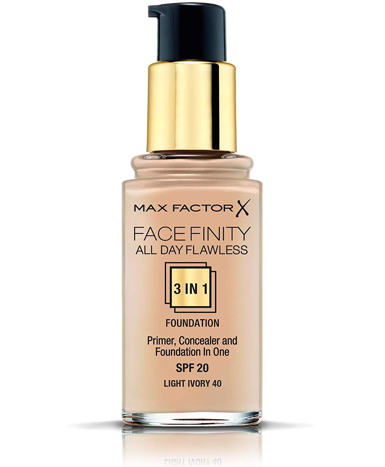 Max Factor FaceFinity All Day Flawless 3 in 1 Foundation, Primer and Concealer, SPF 20 Light Ivory 40 - Walmart.com