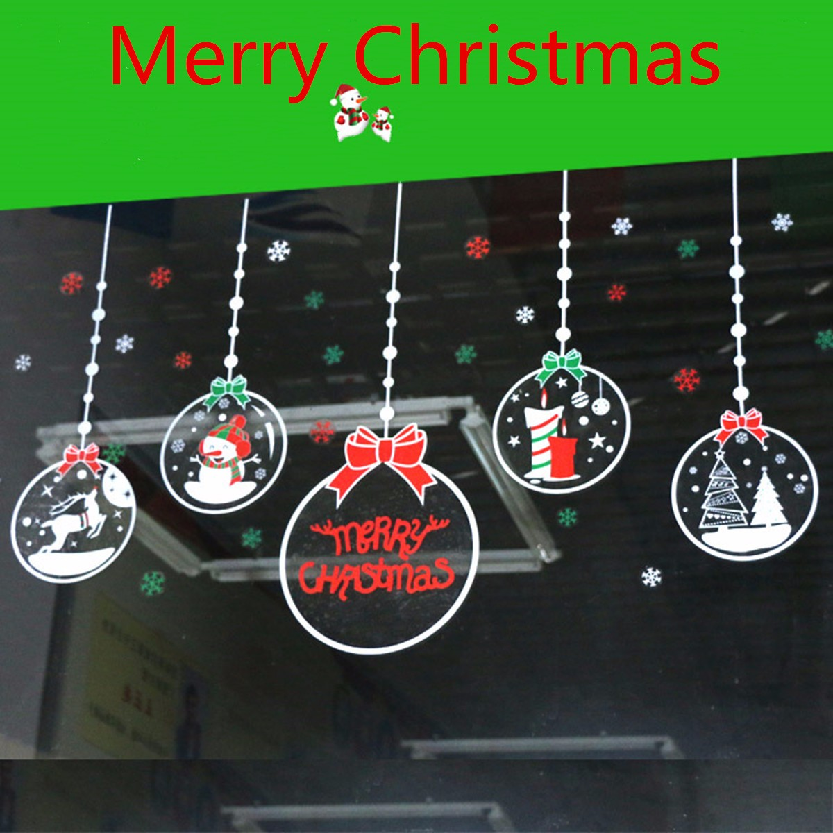 Christmas Snowflake Snowman Removable Static Cling Sticker Wall Glass Window Home Decor Bar Shopping Mall 27.6 x 19.7''