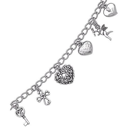 Silver-Plated Sweet Hearts Charm Bracelet, 7.5
