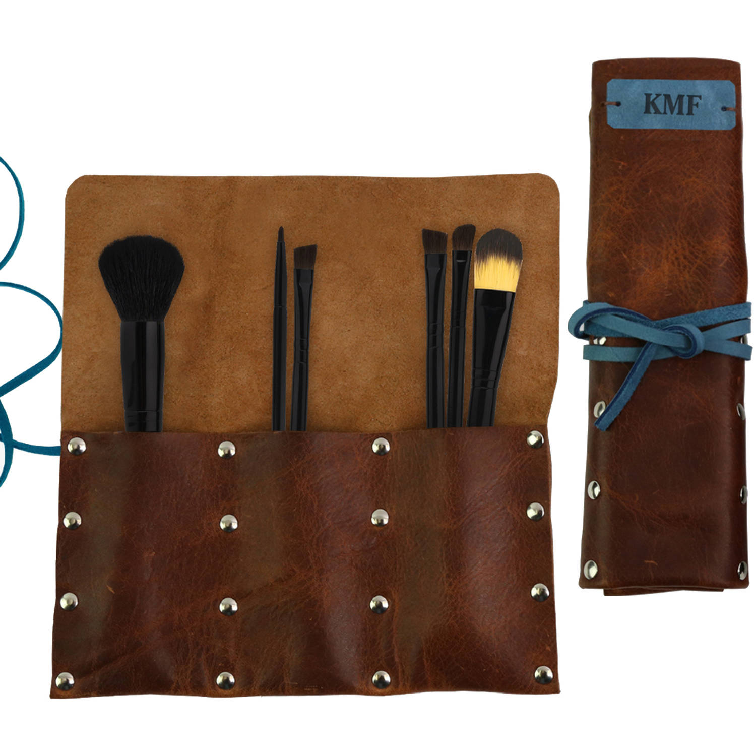 "Monogram Contrast Leather Wrap Makeup Brush Holder Organizer 9"" x 7.75"""