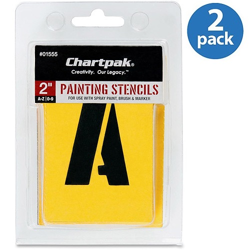 Chartpak Painting Letters/Numbers Stencils, 35 per Set, Pack of 2