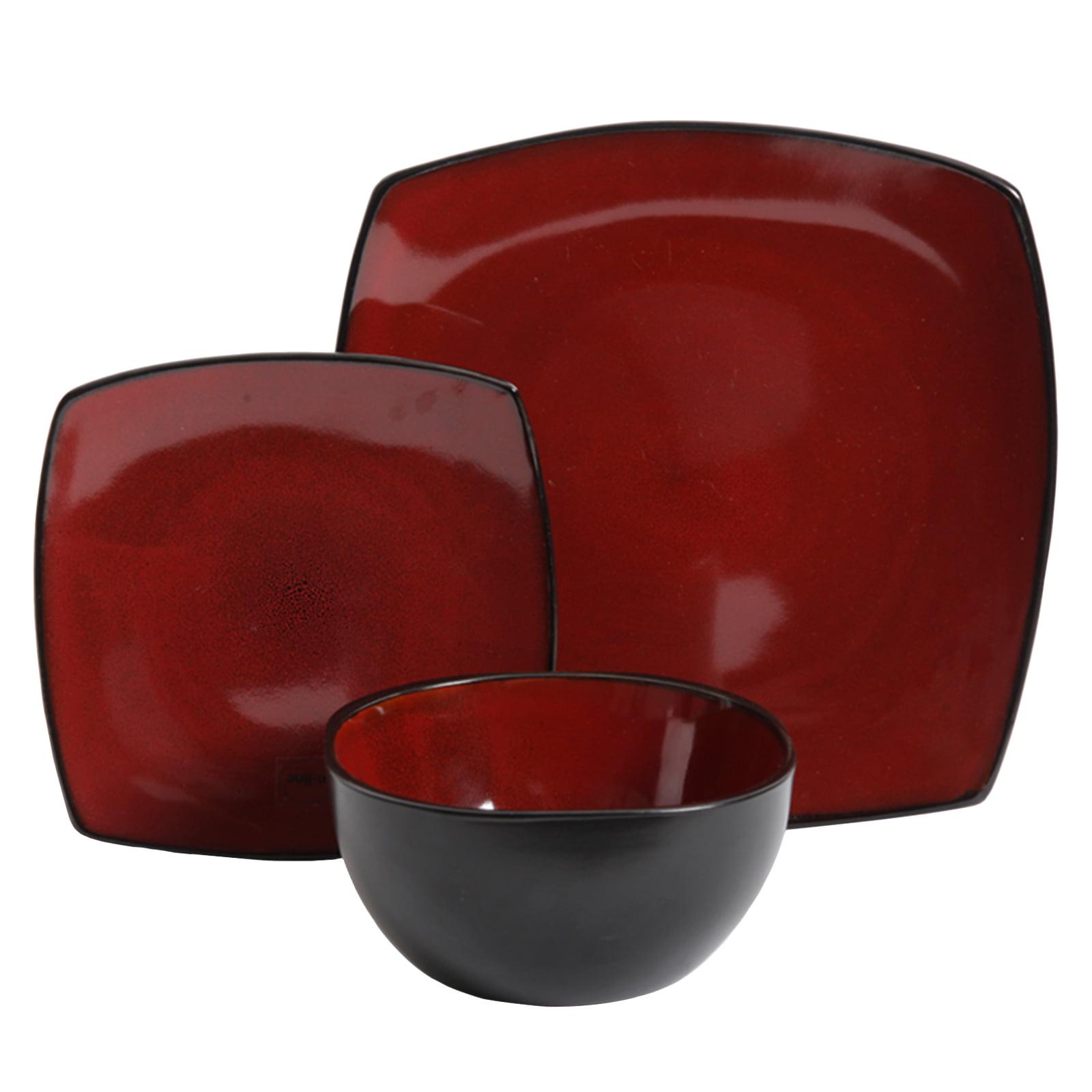 Soho Lounge 12-Piece Soft Square Dinnerware Set, Red