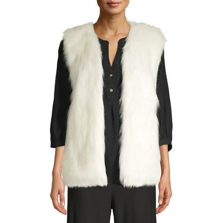 Time and Tru Women's Fur Vest Womens Fur Vest