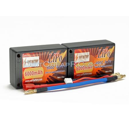 Saddle Pack Hard Case - 7.4V 6000mAh 2S Cell 100C-200C Saddle HardCase LiPo Battery Pack w/ 4mm Bullet & Deans Ultra Connector