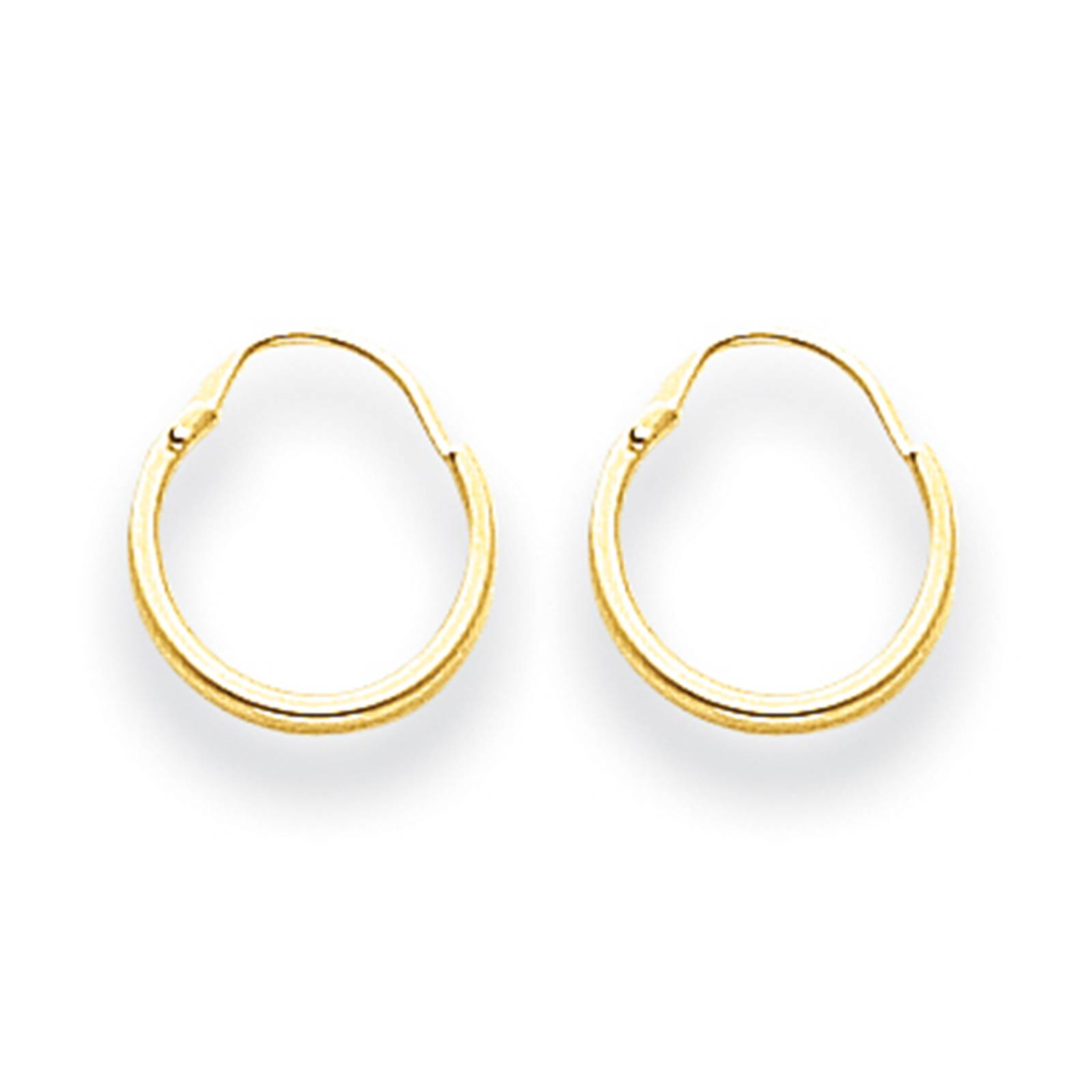 Madi K Childrens 14k Yellow Gold 1mm Polished & Hollow Hoop Earrings