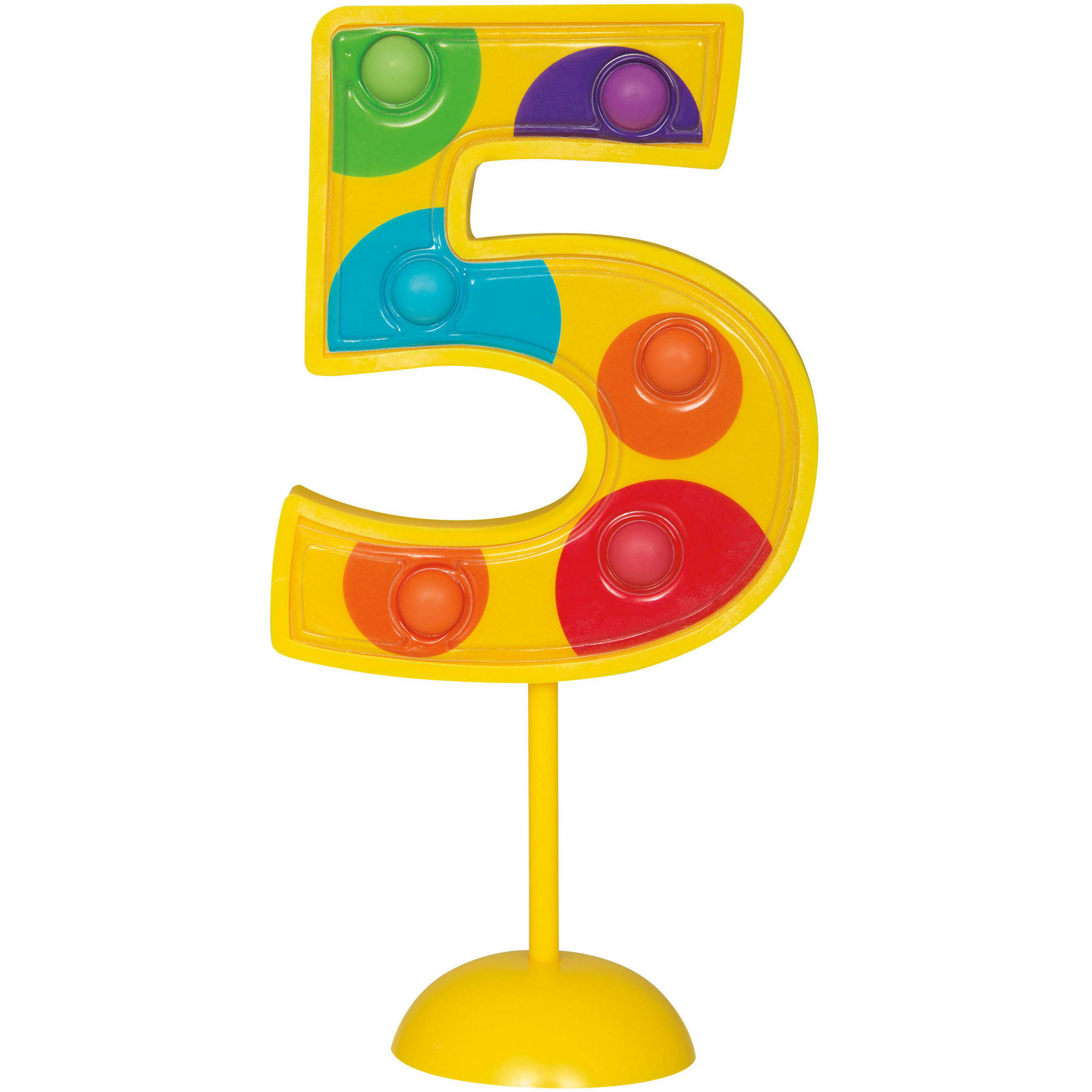 Flashing Number 5 Cake Topper Decoration