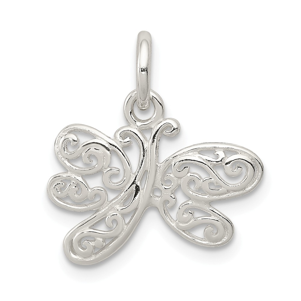 Sterling Silver Polished Dragonfly Charm (0.6in)