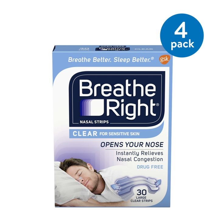 Breathe Right Nasal Strips to Stop Snoring, Drug-Free, Clear for Sensitive Skin, 30 count