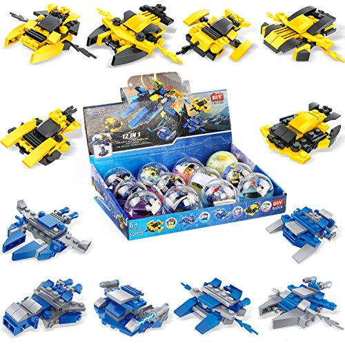 Mini Building Blocks Spaceship for Goodie Bags, Party Favors, Kids Prizes, 12 Packs 36 Models  F-110