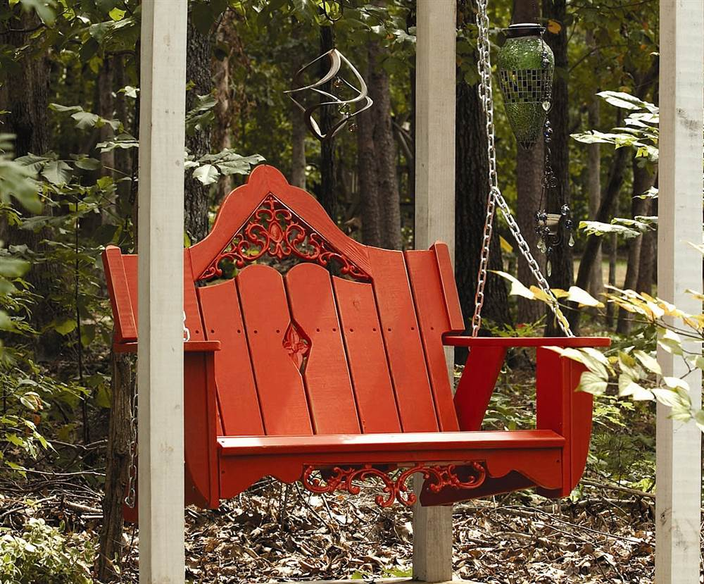 Outdoor Swing in Southern Pine with Cast Inserts (White) by Uwharrie Chair