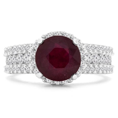 3 3/8 CTW Round Red Ruby Halo Cocktail Ring in 14K White Gold (MD180153) - image 1 de 2