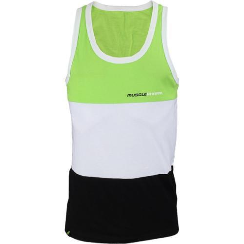 Small MusclePharm Tri-Fold Tank Top Black//White//Green