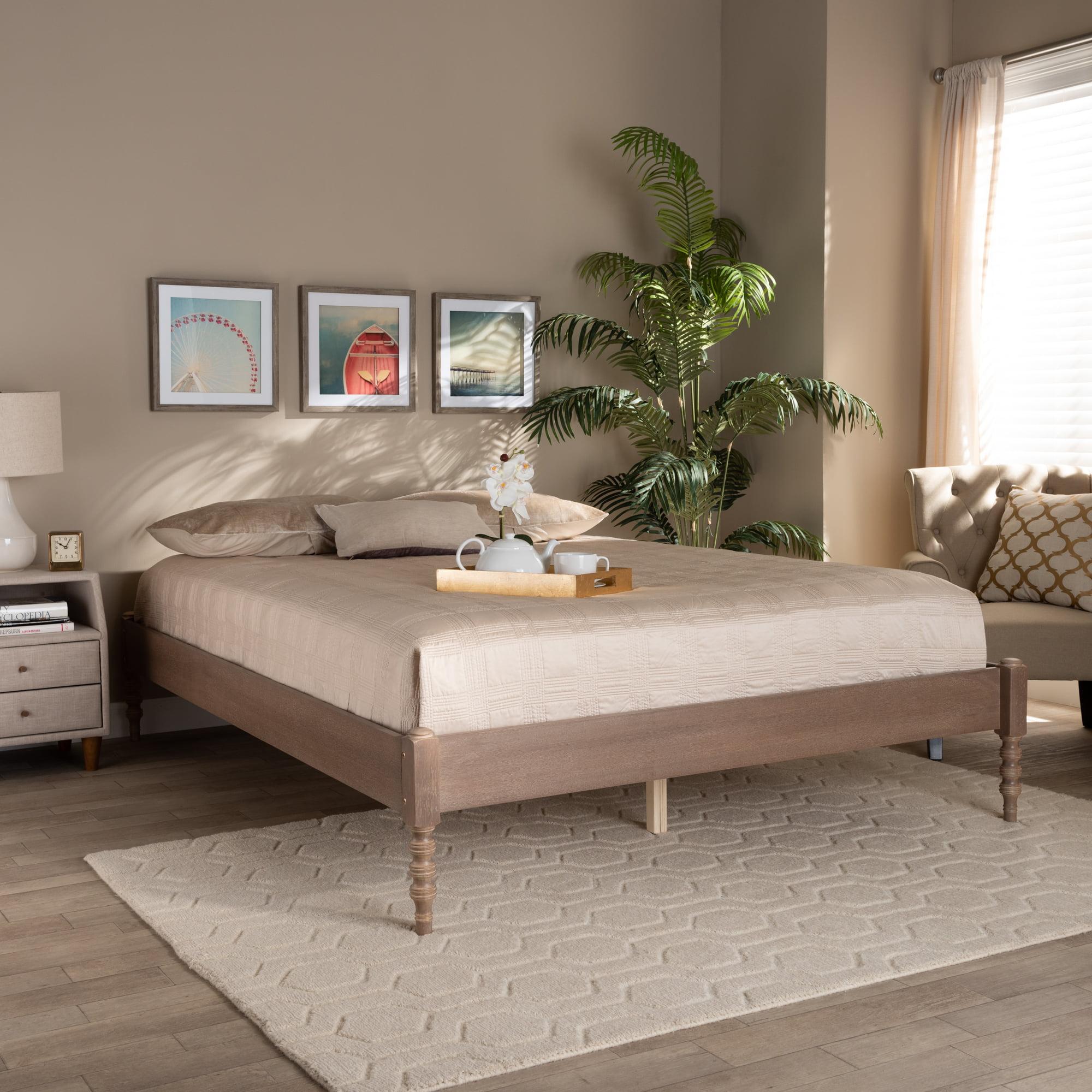 Baxton Studio Cielle French Bohemian Antique Oak Finished Wood Full Size Platform Bed Frame Walmart Com Walmart Com