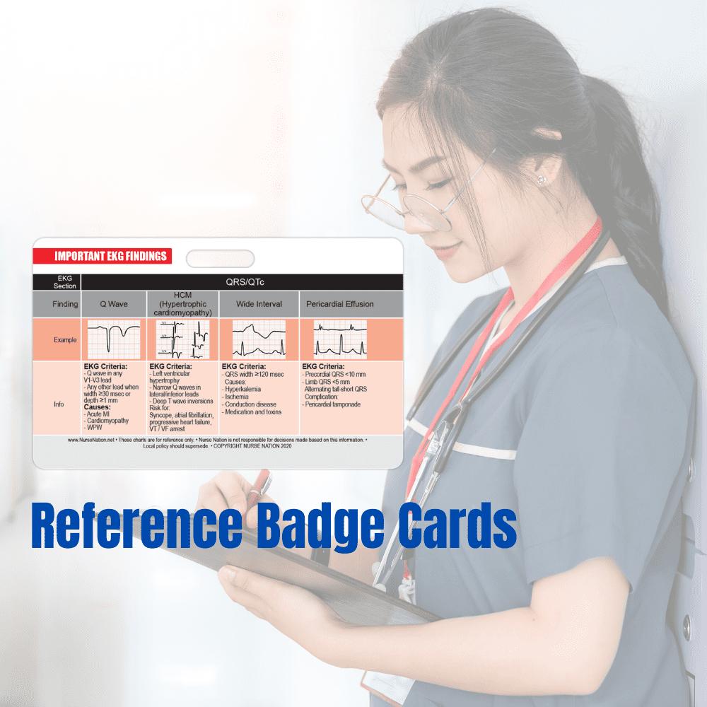 EKG Horizontal Badge 6 Card Set STEMI Leads 12 Lead EKG Placement ...