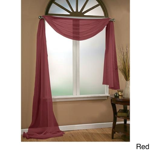 VCNY Infinity Sheer Window Scarf Valance 54X216 - Red