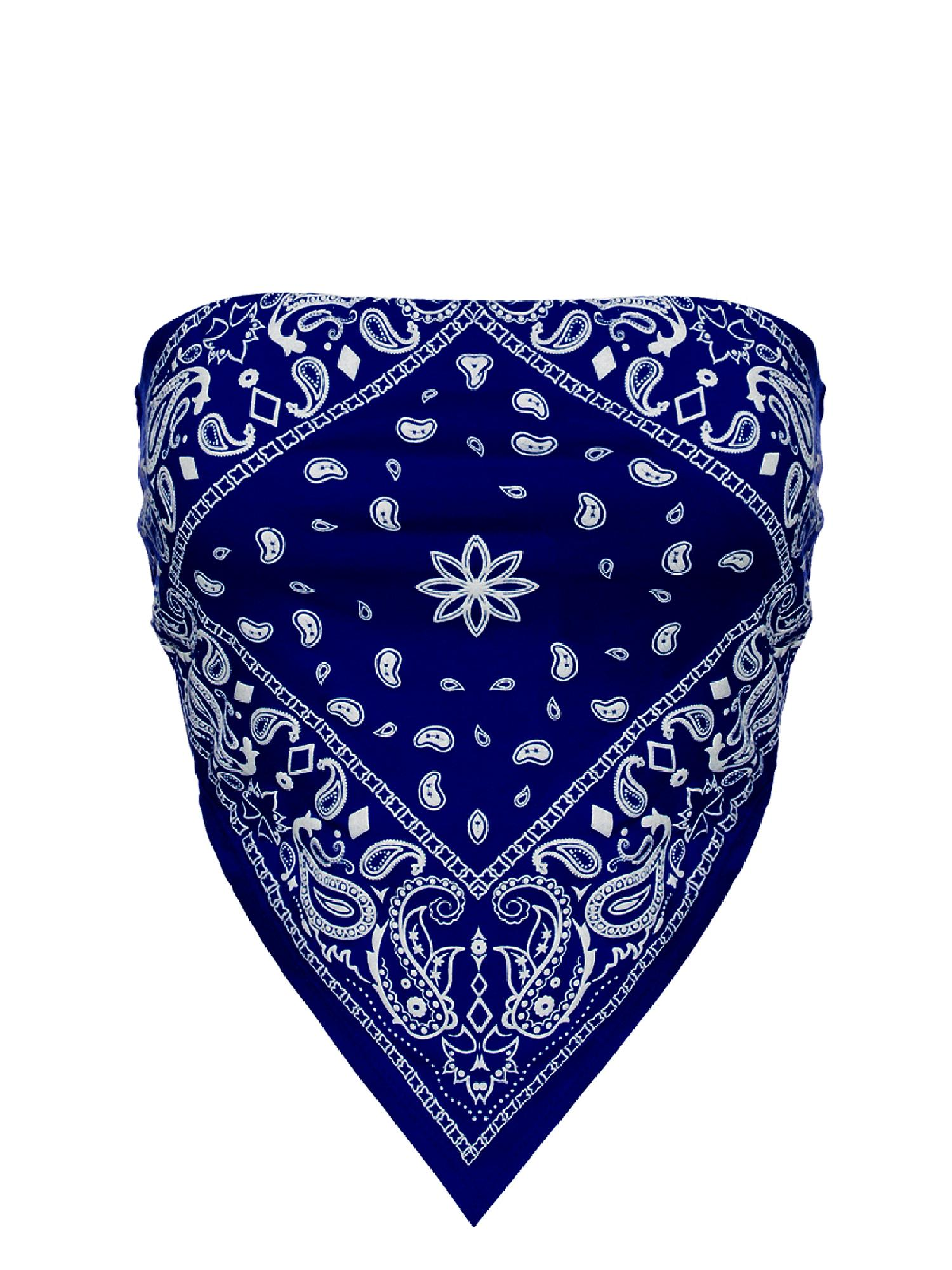 Blue Bandana Crop Top