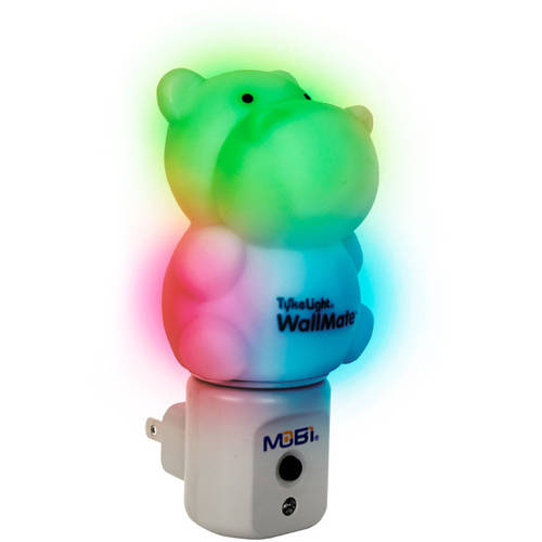 MOBI WallMate Color-Changing LED Night Light with Auto On/Off Light Sensor, 5 Light Modes, Cool-to-the-touch, HIPPO Shape