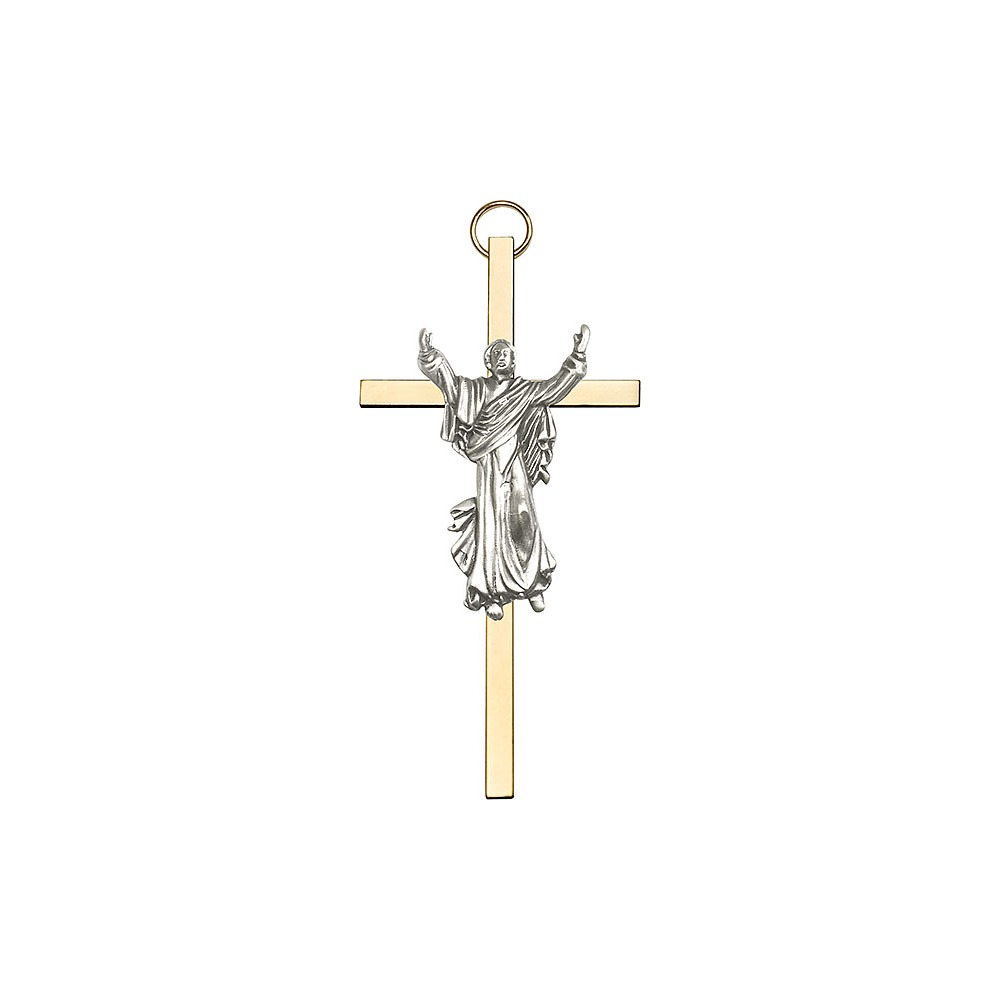 """Antique Silver Risen Saint St. Christopher Medal Pendant Patron Saints on a Polished Brass Cross 4""""Wall... by Bliss Manufacturing"""
