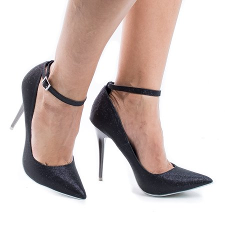 Audrey by Shoe Republic, Classic Stiletto High Heel Ankle Strap Pointy Toe Dress Pumps