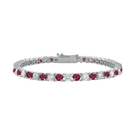 Created Ruby and Cubic Zirconia Prong Set 10K White Gold Tennis Bracelet 4 CT TGW