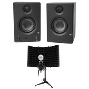 "Pair Presonus Eris E3.5 3.5"" Powered Studio Monitor Speakers+Microphone+Shield"