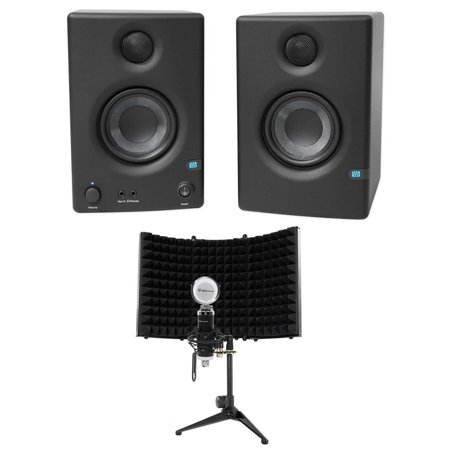 "Pair Presonus Eris E3.5 3.5"" Powered Studio Monitor Speakers+Microphone+Shield"