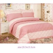 French Cuddley Peach High Quality Fully Quilted Three Piece Quilt Set - Quilt, Pillow Sham, Sheet,