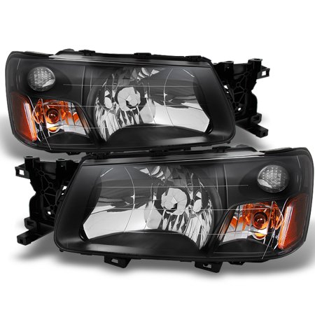 Fit 2003-2004 Subaru Forester SG Black Bezel Headlights Headlamps Replacement ()