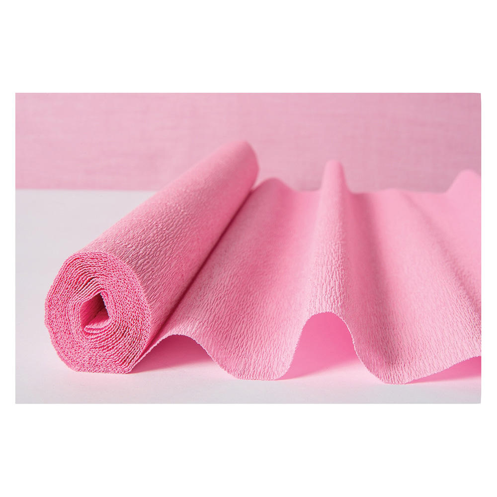 Luna Bazaar Premium Heavy Italian Crepe Paper Roll (20 Inches x 8 Feet, Bambina Pink) - For DIY Projects, Table Runners, and Gift Wrapping