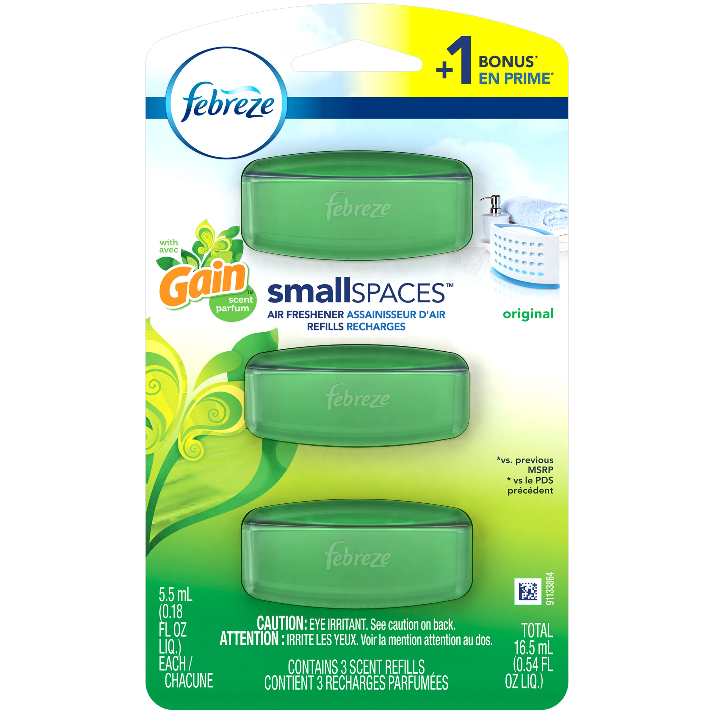 Febreze Small Spaces Air Freshener Refills with Gain Scent Original - 3ct