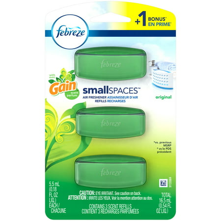 (2 pack) Febreze Small Spaces Air Freshener Refills with Gain Scent, Original, 6 (Meyers Scent Diffuser Refill)