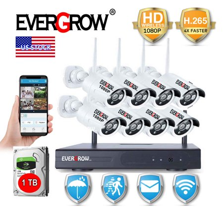 Advanced H265+ Technology 8pcs HD 1080P WIFI Wireless IP Camera System 8CH NVR Outdoor Security Home Video (CAM-WIFI-8CH-2MP)