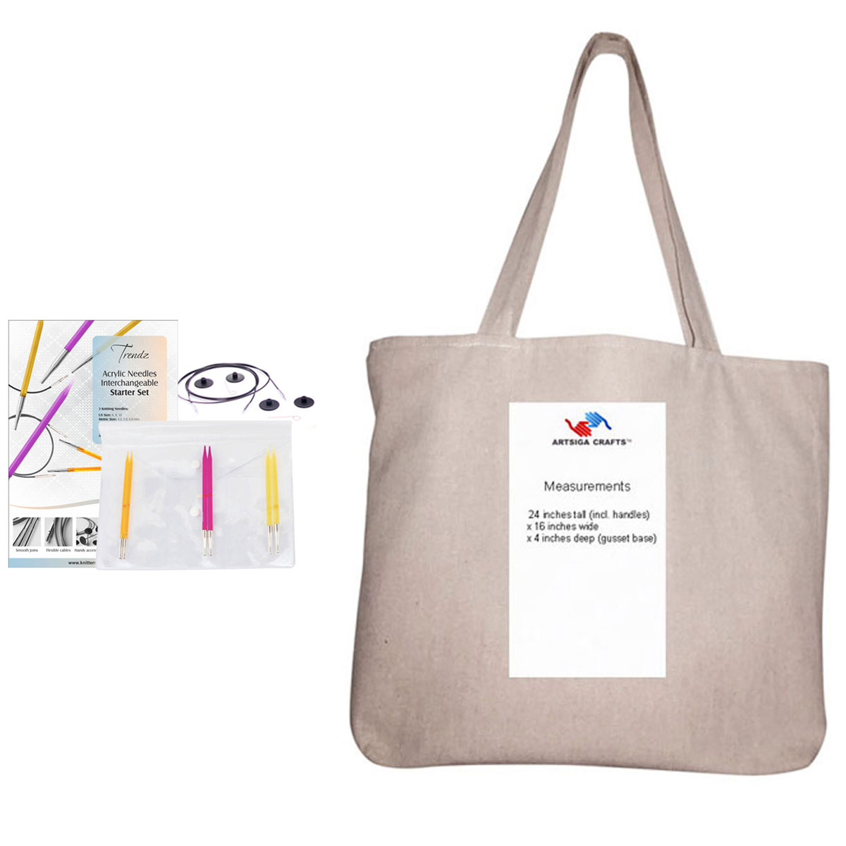 Knitter's Pride Trendz Interchangeable Knitting Needles Starter Set Bundle with 1 Artsiga Crafts Project Bag 700105