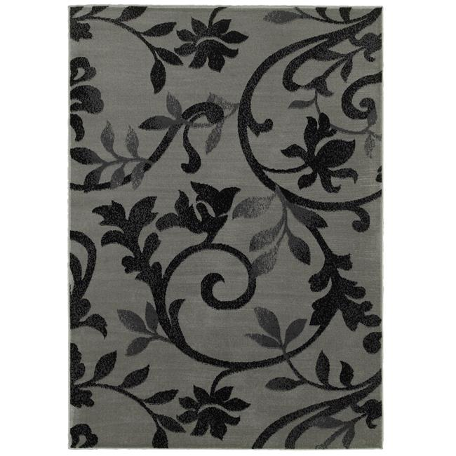 LR Resources GRAC281131GYB3756 3 ft. 7 in. x 5 ft. 6 in. Grace Rectangle Area Rug, Gray & Black - image 1 of 1