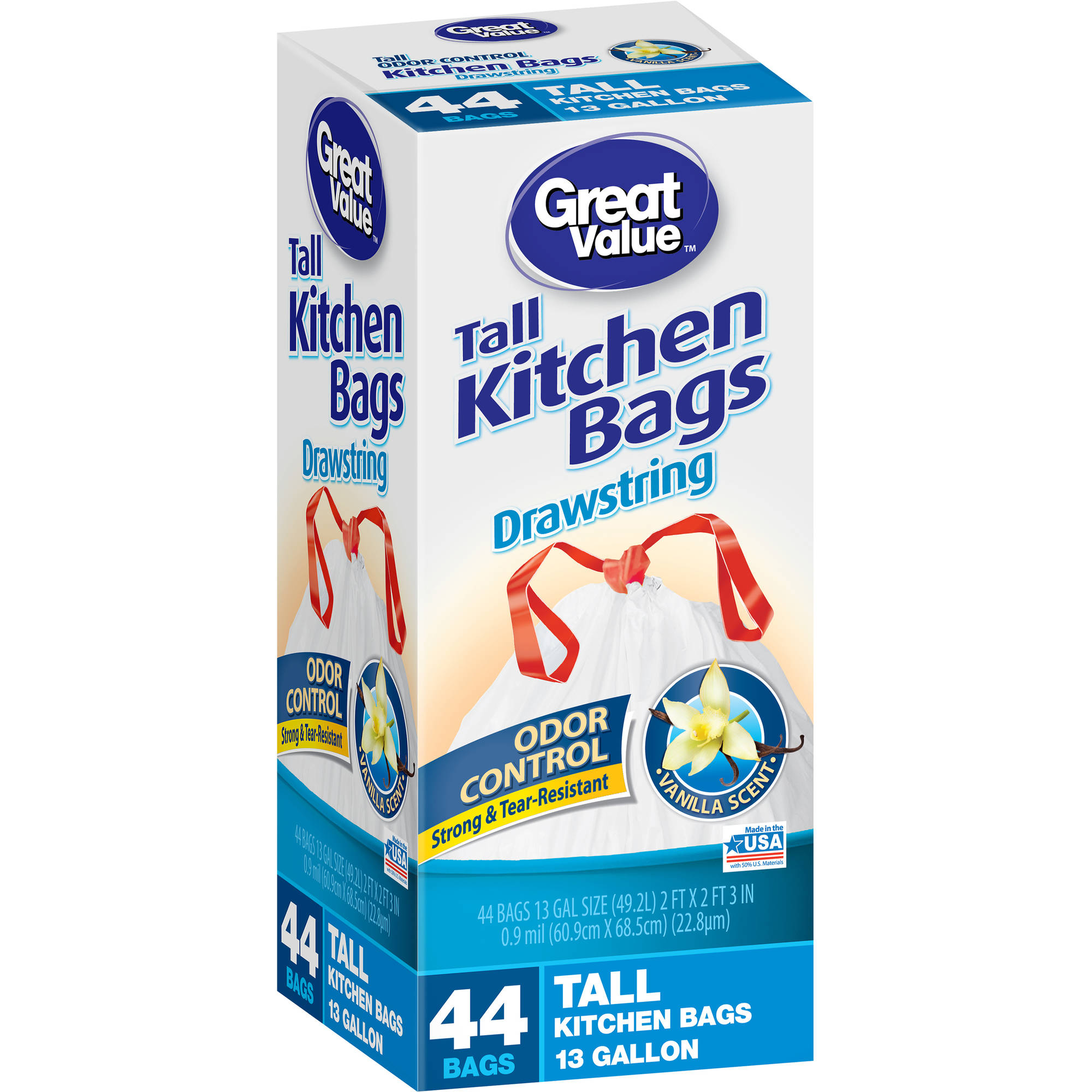 Great Value Vanilla Scent Odor Control Drawstring Tall Kitchen Bags, 13 gal, 44 count
