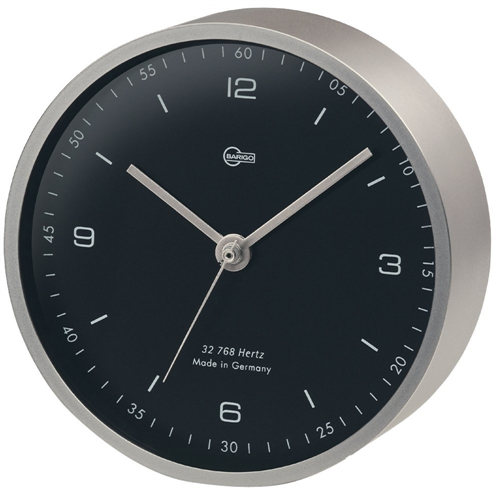 "Barigo Pentable Series Quartz Clock - Wall Plated Nickel Housing - 4"" Black Dial 601.5M"