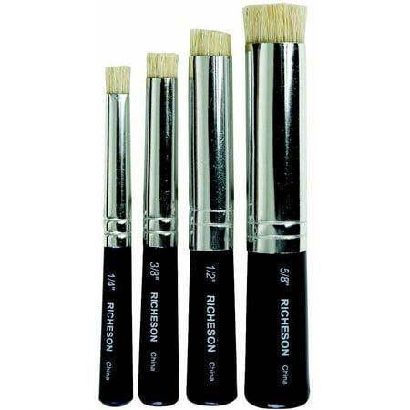 Jack Richeson Shiva Round Natural Bristle Stencil Brush Set, Assorted Size, Set of 4