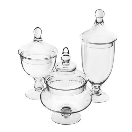 Alcott Hill 3 Piece Glass Candy Buffet Apothecary Jar - Plastic Apothecary Jars
