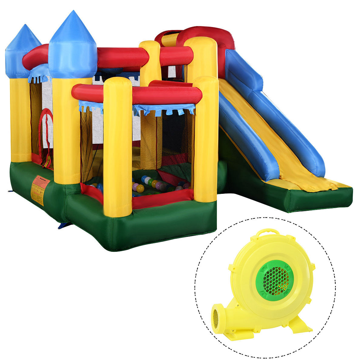 Costway Mighty Inflatable Bounce House Castle Jumper Moonwalk Bouncer w 680W Blower New by Costway